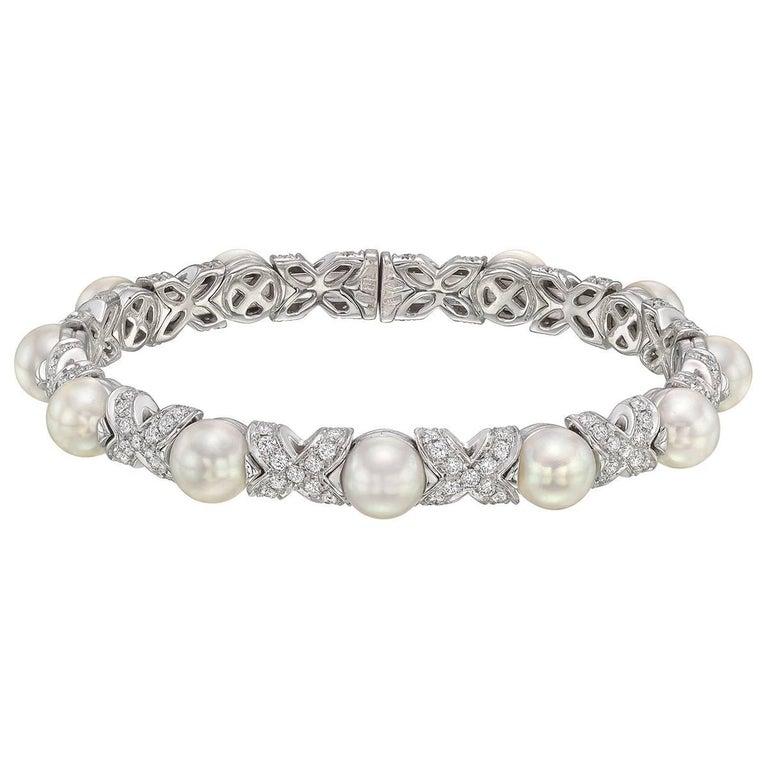 """Bulgari Pearl Diamond """"X"""" Cuff Bracelet at 1stdibs"""