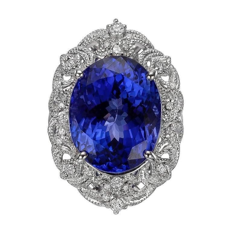 18.03 Carat Tanzanite Diamond Cocktail Ring