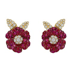 Aletto Brothers Ruby Diamond Flower Earrings