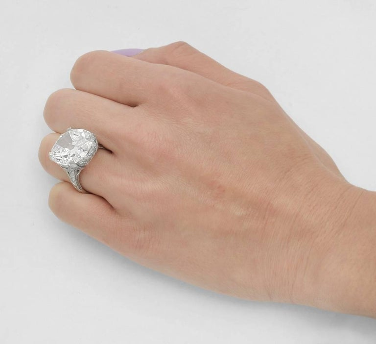 Aesthetic Movement 16.18 Carat Cushion Brilliant-Cut Diamond Engagement Ring For Sale