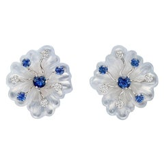 Seaman Schepps Chalcedony, Sapphire and Diamond Flower Earclips