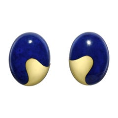Tiffany & Co. Yellow Gold and Lapis Domed Earclips