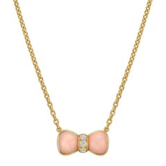Van Cleef & Arpels Small Pink Coral Diamond Bow Pendant