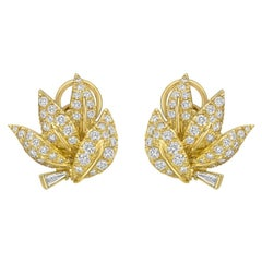 Yellow Gold Diamond Leaf Earclips