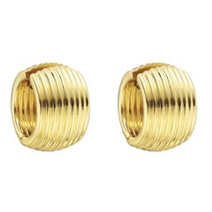 Tiffany & Co. Fluted Yellow Gold Wide Hoop Earrings