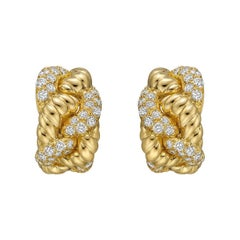 Boucheron Yellow Gold Diamond Woven Earclips