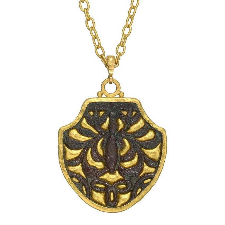 "Gurhan High Karat Yellow Gold Bronze ""Byzantine"" Shield Pendant 1"