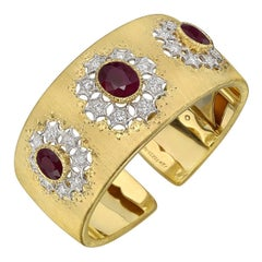Buccellati Gold Ruby Diamond Cuff Bracelet