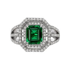 1.49 Carat No-Oil Emerald Diamond Ring