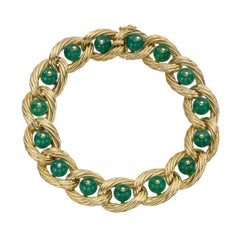 Van Cleef & Arpels Yellow Gold Chrysoprase Link Bracelet