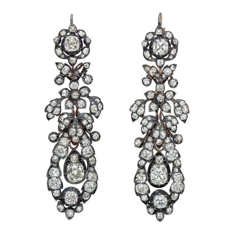 Old Mine Cut Diamond Foliate Drop Earrings