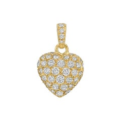 Cartier Yellow Gold Diamond Heart Pendant-Charm