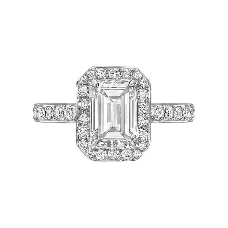 1.69 Carat Emerald-Cut Diamond Engagement Ring For Sale