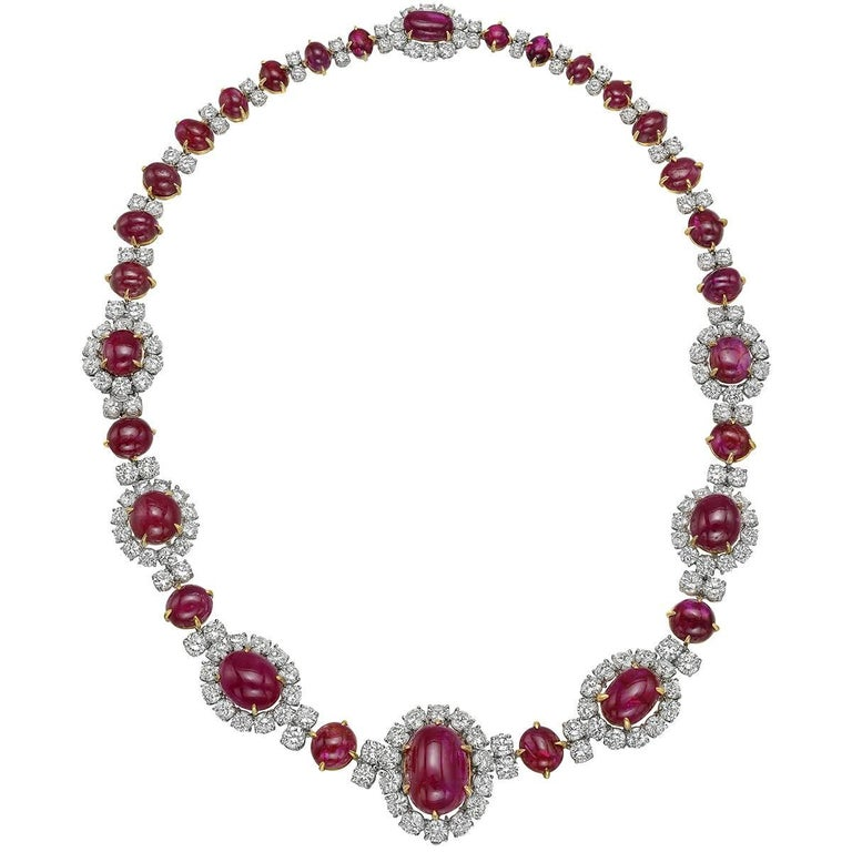 Van Cleef & Arpels Ruby Diamond Cluster Necklace