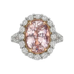 6.09 Carat Padparadscha Sapphire Diamond Cluster Ring