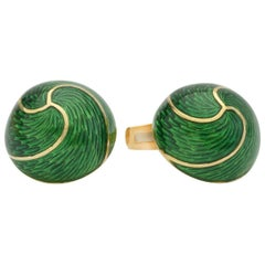 Green Enamel Yellow Gold Domed Cufflinks