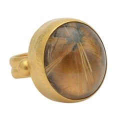 Gurhan 24 Karat Yellow Gold Rutilated Quartz Ring