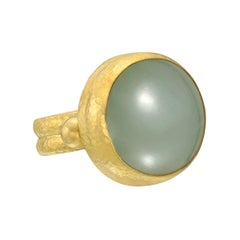 Gurhan 24 Karat Yellow Gold Green Aquamarine Ring
