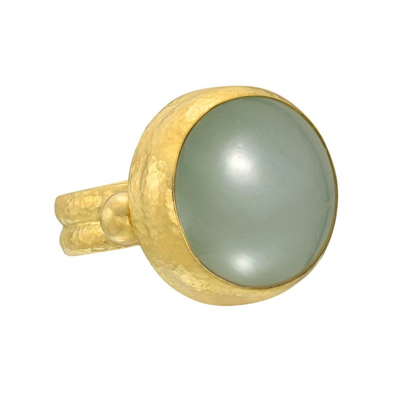 Gurhan 24 Karat Yellow Gold Green Aquamarine Ring