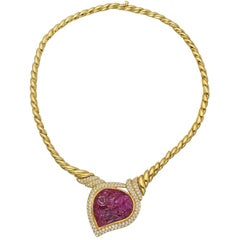 Van Cleef & Arpels Carved Ruby Necklace