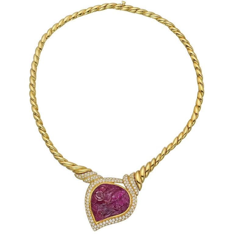 Van Cleef & Arpels Carved Ruby Necklace