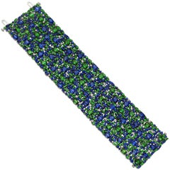 Robert Procop Sapphire Tsavorite Diamond Wide Bracelet