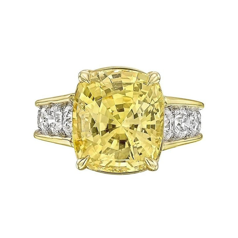 Robert Procop 10.58 Carat Yellow Sapphire and Diamond Ring