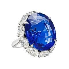22.22 Carat No-Heat Ceylon Sapphire Ring