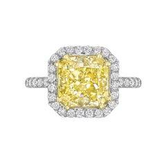 Betteridge 4.01 Carat Fancy Yellow Diamond Ring