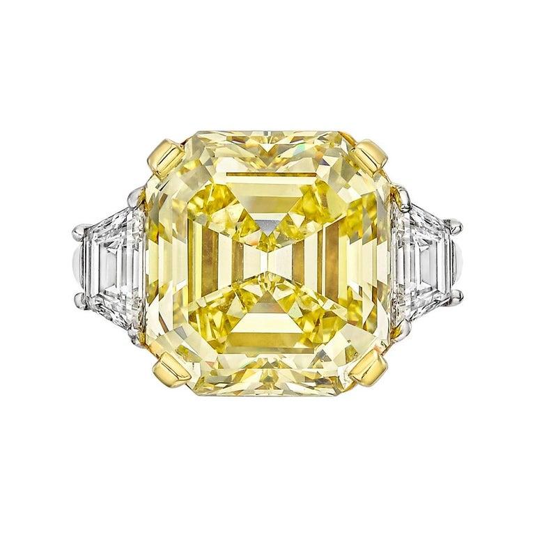 10.03 Carat Fancy Intense Yellow Asscher-Cut Diamond Ring For Sale