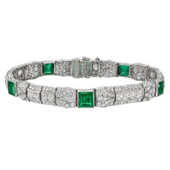 Emerald Diamond Panel Bracelet