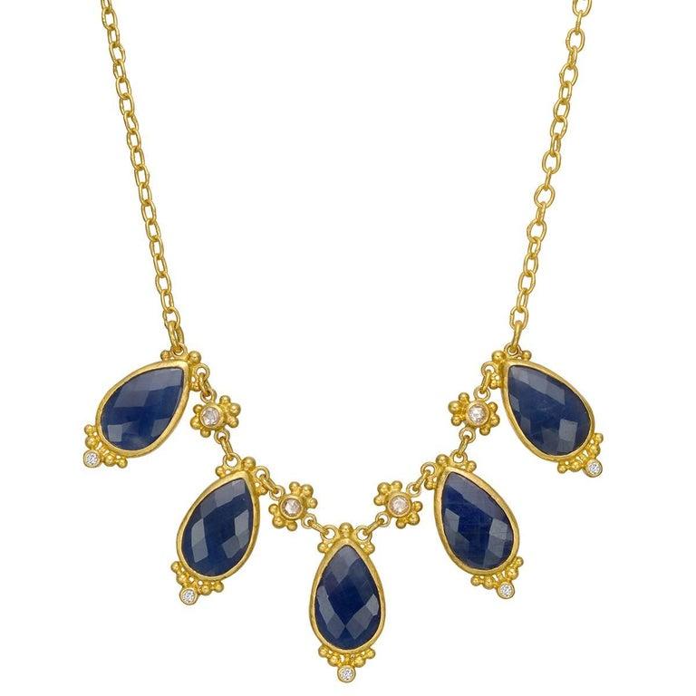 """Gurhan High Karat Yellow Gold Sapphire """"Elements"""" Necklace"""