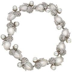 Valentin Magro Rock Crystal, Pearl Diamond Leaf Necklace