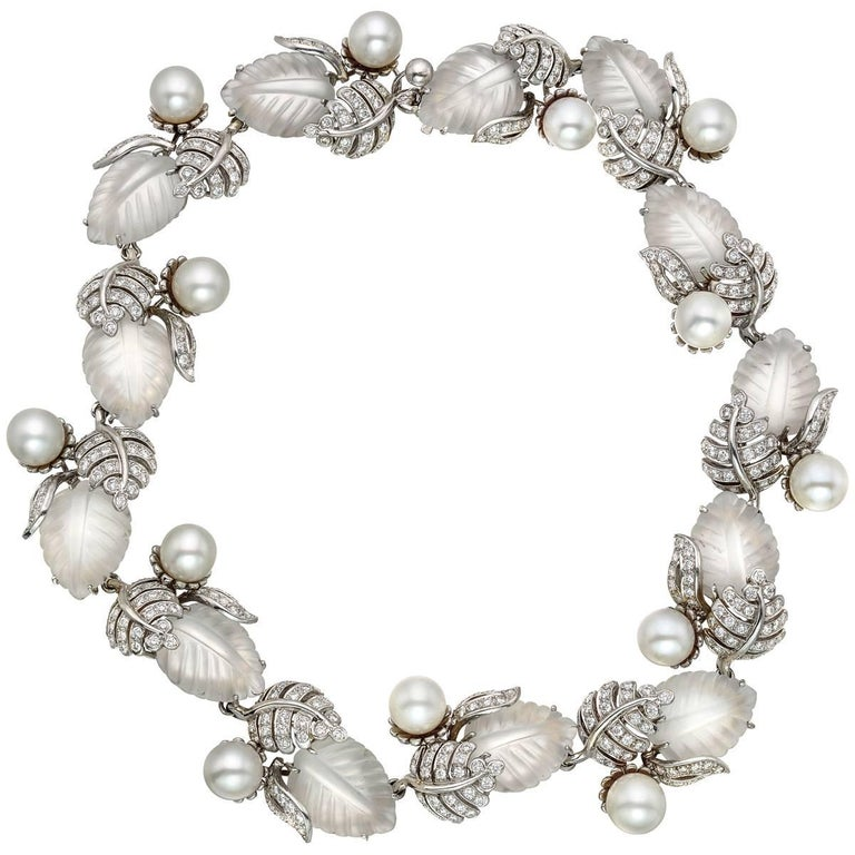 Valentin Magro Rock Crystal, Pearl Diamond Leaf Necklace