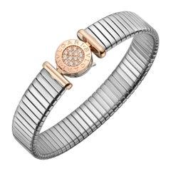 "Bulgari Steel, Pink Gold and Diamond ""Tubogas"" Bracelet"