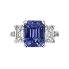 Betteridge 5.02 Carat Violet Sapphire and Diamond Ring