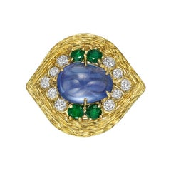 Van Cleef & Arpels Sapphire, Emerald Diamond Cocktail Ring