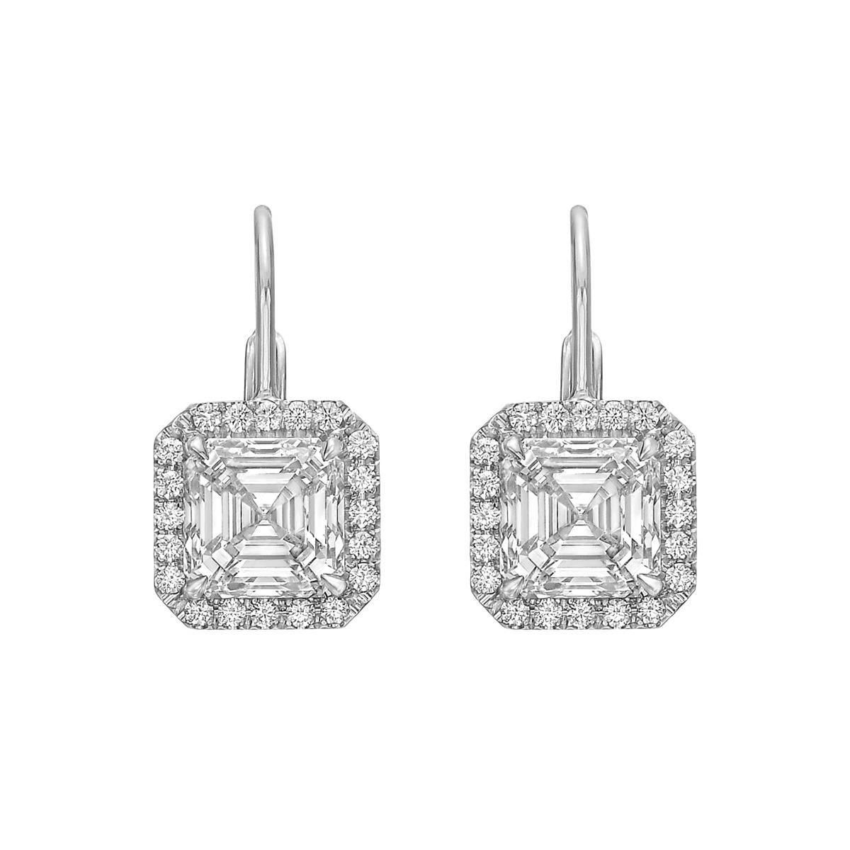 Betteridge Square Emerald Cut Diamond Halo Drop Earrings 4 35 Carat At 1stdibs