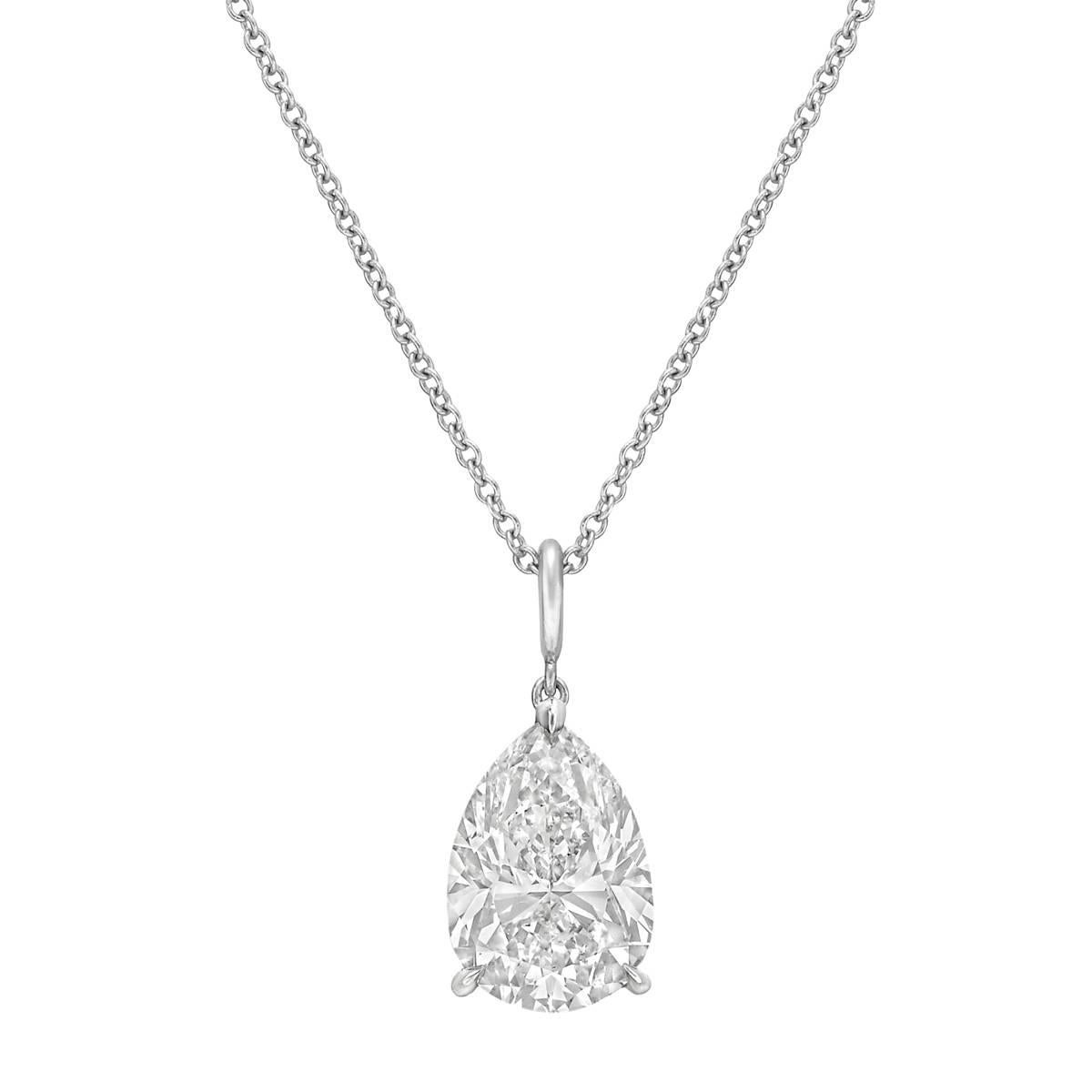 necklace pear clarity shaped gold diamond i white solitaire pendant egl certifie