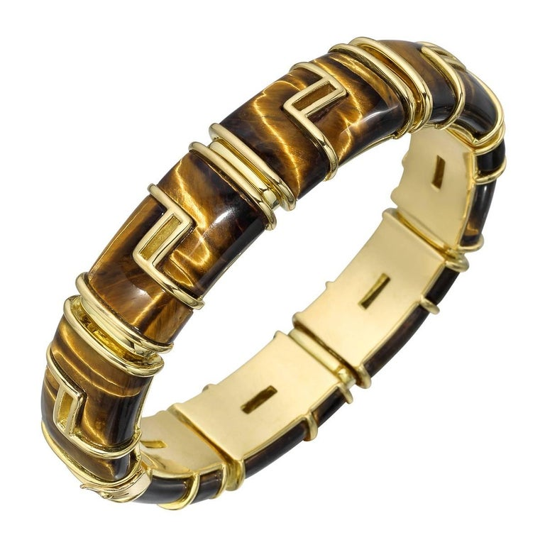 1970s Tiffany & Co. Yellow Gold Tiger's Eye Bracelet For Sale