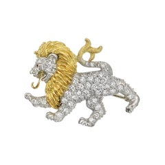 McTeigue Platinum Gold Diamond Lion Pendant Brooch
