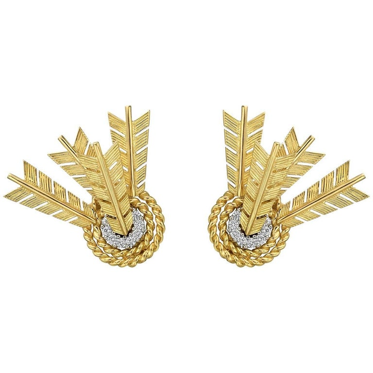 Verdura Yellow Gold Platinum Diamond Target Earrings For Sale
