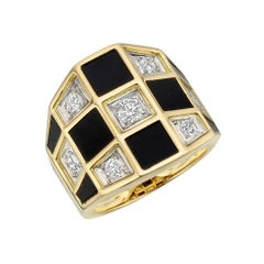 "Van Cleef & Arpels Black Onyx Diamond ""Checkerboard"" Ring"