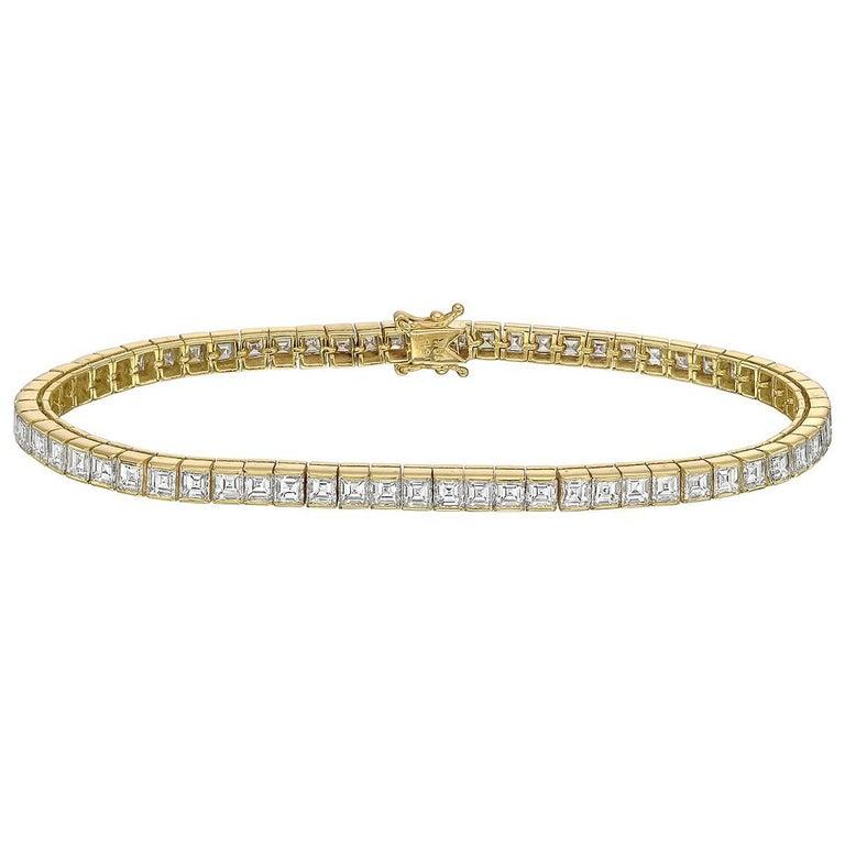 Square Emerald-Cut Diamond Line Bracelet '~6 Carat'