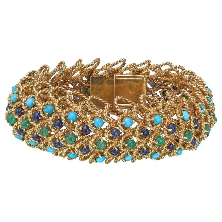 Gold Gem-Set Twistwire Link Bracelet