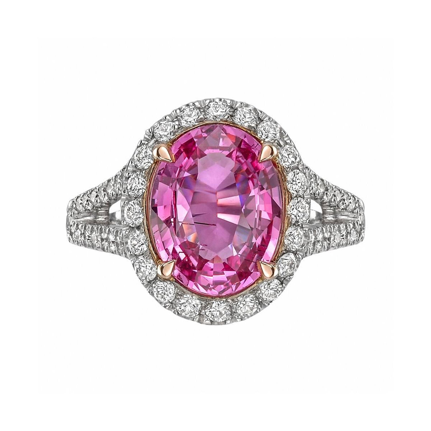 3.81 Carat Pink Sapphire and Diamond Ring For Sale at 1stdibs