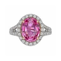3.81 Carat Pink Sapphire and Diamond Ring