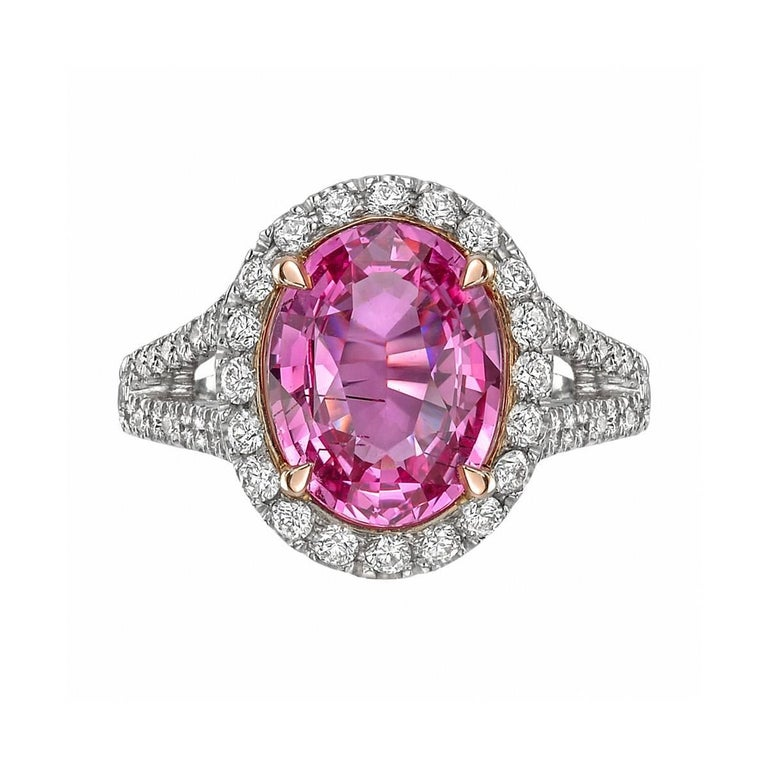 3.81 Carat Pink Sapphire and Diamond Ring
