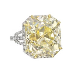 14.08 Carat Fancy Light Yellow Old Mine Diamond Ring