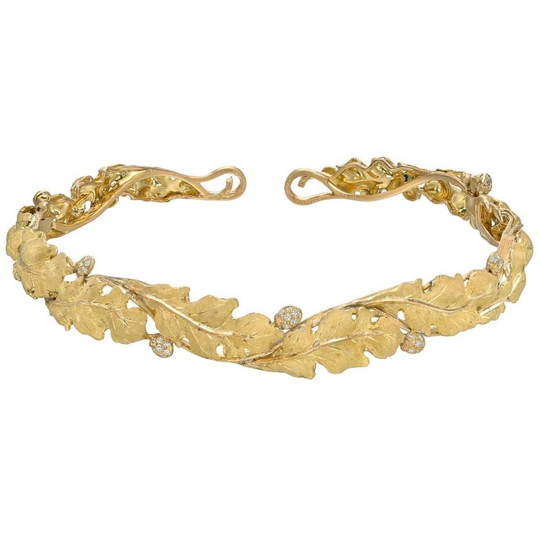 Buccellati Yellow Gold Diamond Leaf Choker Necklace